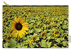 Carry-all Pouch featuring the digital art A Field Of Sunflowers by Eva Kaufman