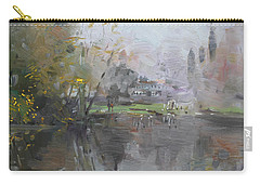 A Foggy Fall Day By The Pond  Carry-all Pouch by Ylli Haruni