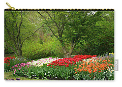 Carry-all Pouch featuring the digital art A Garden Of Tulips  by Eva Kaufman