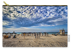 Carry-all Pouch featuring the photograph a good morning from Jerusalem beach  by Ron Shoshani