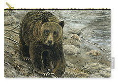 A Grey And Grizzly Day Carry-all Pouch by Sandra LaFaut
