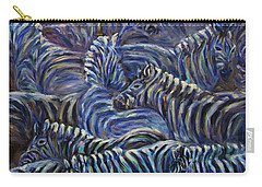 Carry-all Pouch featuring the painting A Group Of Zebras by Xueling Zou