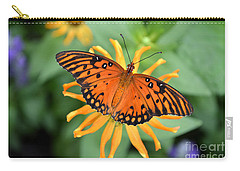 Carry-all Pouch featuring the digital art A Gulf Fritillary Butterfly On A Yellow Daisy by Eva Kaufman