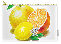 A Happy Citrus Bunch Grapefruit Lemon Orange Carry-all Pouch by Irina Sztukowski