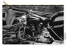 A Harley Davidson And The Virgin Mary Carry-all Pouch by Andy Prendy