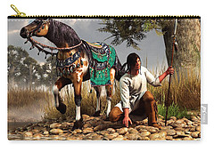 A Hunter And His Horse Carry-all Pouch by Daniel Eskridge