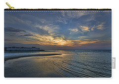 Carry-all Pouch featuring the photograph a joyful sunset at Tel Aviv port by Ron Shoshani