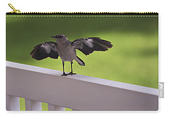 A Little Visitor Northern Mockingbird Carry-all Pouch by Terry DeLuco