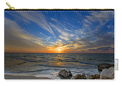 Carry-all Pouch featuring the photograph A Majestic Sunset At The Port by Ron Shoshani