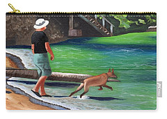 A Man And His Dog Carry-all Pouch by Laura Forde