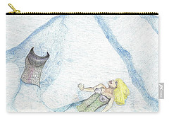 Carry-all Pouch featuring the drawing A Mermaids Moment by Kim Pate