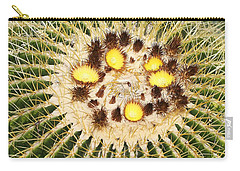 Carry-all Pouch featuring the photograph A Mexican Golden Barrel Cactus With Blossoms by Tom Janca