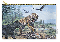 A Pack Of Canis Dirus Wolves Approach Carry-all Pouch
