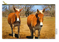 A Pair Of Mules  Digital Paint Carry-all Pouch by Debbie Portwood