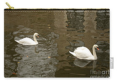 Carry-all Pouch featuring the photograph A Pair Of Swans Bruges Belgium by Imran Ahmed