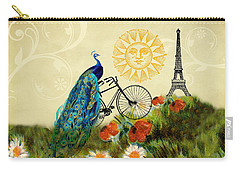 Carry-all Pouch featuring the digital art A Peacock In Paris by Peggy Collins