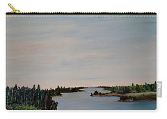 Carry-all Pouch featuring the painting A River Shoreline by Marilyn  McNish