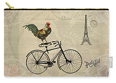 Carry-all Pouch featuring the digital art A Rooster In Paris by Peggy Collins