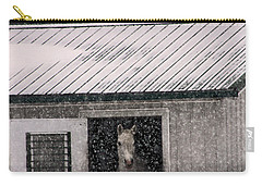 A Snowfall At The Stable Carry-all Pouch by Bruce Patrick Smith