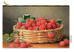 A Still Life Of Raspberries In A Wicker Basket  Carry-all Pouch by William B Hough