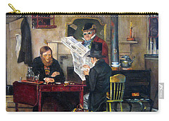 Carry-all Pouch featuring the painting A Study Of Waiting For The Stage by Donna Tucker