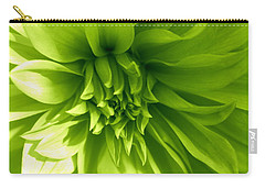 Carry-all Pouch featuring the photograph A Touch Of Green - Dahlia by Dora Sofia Caputo Photographic Art and Design