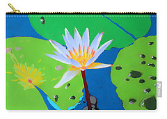 Carry-all Pouch featuring the mixed media A Water Lily In Its Pad by Deborah Boyd