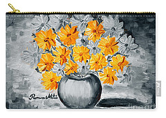 Carry-all Pouch featuring the painting A Whole Bunch Of Daisies Selective Color I by Ramona Matei