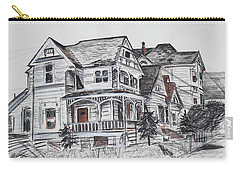Carry-all Pouch featuring the drawing Abandoned Victorian And Neighbors In Oakland California by Asha Carolyn Young