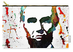Carry-all Pouch featuring the painting Abraham Lincoln Original Watercolor Painting by Georgeta Blanaru