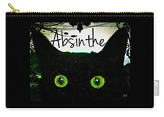 Carry-all Pouch featuring the digital art Absinthe Black Cat by Absinthe Art By Michelle LeAnn Scott