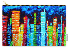 Abstract Art Landscape City Cityscape Textured Painting City Nights II By Madart Carry-all Pouch