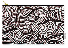 Carry-all Pouch featuring the painting Abstract Black And White Ink Line Drawing by Jean Haynes