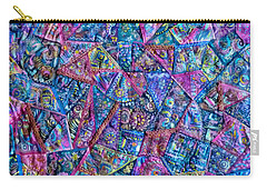 Abstract Blue Rose Quilt Carry-all Pouch