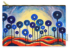 Carry-all Pouch featuring the painting Abstract Blue Symphony  by Ramona Matei