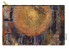 Carry-all Pouch featuring the painting Abstract In Black And Copper by Desiree Paquette