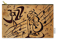 Carry-all Pouch featuring the painting Abstract Jazz Music Coffee Painting by Georgeta  Blanaru
