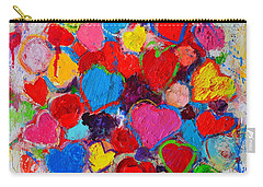 Abstract Love Bouquet Of Colorful Hearts And Flowers Carry-all Pouch