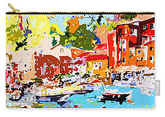 Carry-all Pouch featuring the painting Abstract Portofino Italy Decorative Art by Ginette Callaway