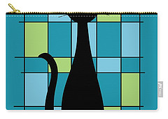 Abstract With Cat In Teal Carry-all Pouch