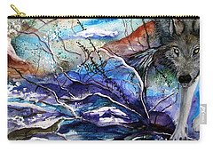 Carry-all Pouch featuring the painting Abstract Wolf by Lil Taylor