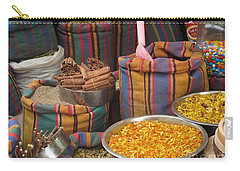 Carry-all Pouch featuring the photograph Acco Acre Israel Shuk Market Spices Stripes Bags by Paul Fearn