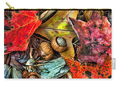 Acorns And Leaves Carry-all Pouch by Kenny Francis
