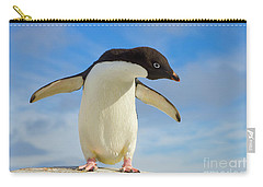 Adelie Penguin Flapping Wings Antarctica Carry-all Pouch by Yva Momatiuk John Eastcott
