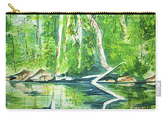 Carry-all Pouch featuring the painting Adirondack Zen by Ellen Levinson