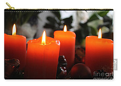 Carry-all Pouch featuring the photograph Advent Candles Christmas Candle Light by Paul Fearn