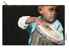 Carry-all Pouch featuring the painting African Drummer Boy by Vannetta Ferguson