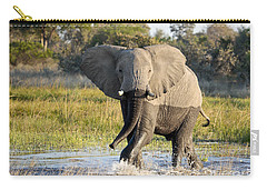 Carry-all Pouch featuring the photograph African Elephant Mock-charging by Liz Leyden