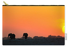 Carry-all Pouch featuring the photograph African Elephant Sunset by Amanda Stadther