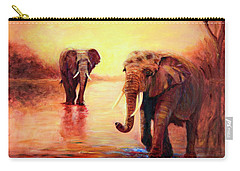 African Elephants At Sunset In The Serengeti Carry-all Pouch
